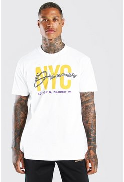White NYC Dreamers Print T-Shirt