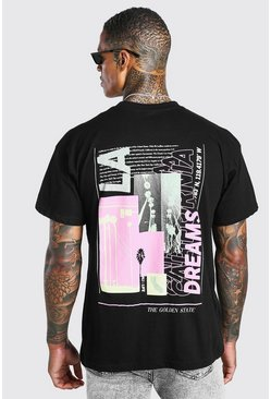Black Oversized Neon LA Back Print T-Shirt