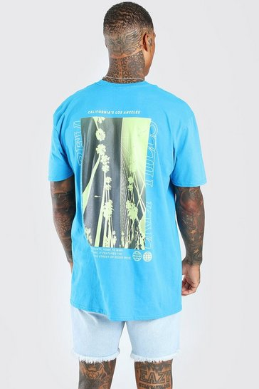 Blue Oversized Photographic Palm Back Print T-Shirt