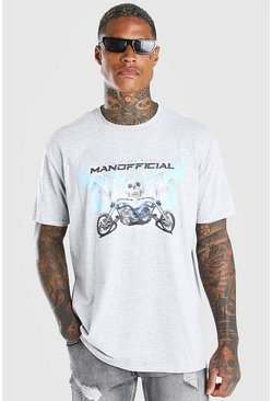 Grey marl Oversized MAN Official Skull Print T-Shirt
