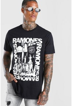T-shirt coupe oversize photo Ramones, Noir