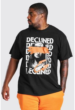 Black Big and Tall Declined Statue Print T-Shirt