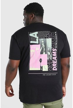 Camiseta con estampado de capas LA Dreams Big and Tall, Negro