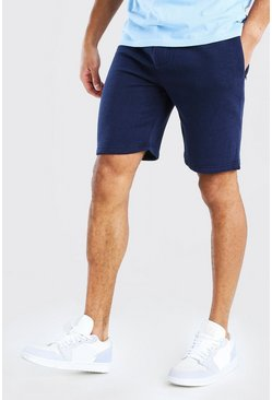 Navy Mid Length Shorts With Side Zips