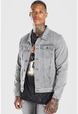 Grey Regular Fit Denim Jacket