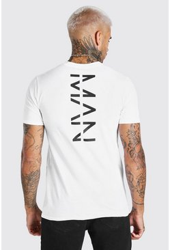 White Large Original MAN Back Print T-Shirt