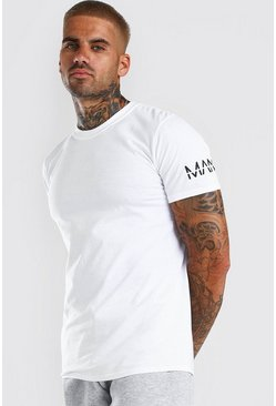 White Original MAN Sleeve Print T-Shirt