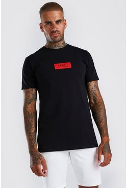 Original MAN Red Box Print T-Shirt, Black