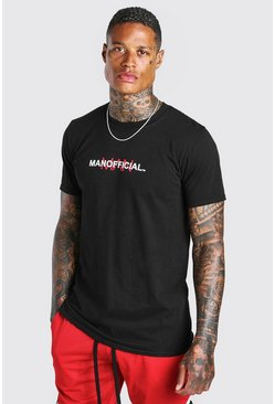 Black MAN Print T-Shirt