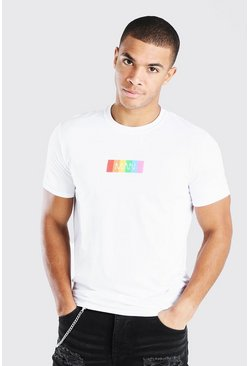 White Original MAN Rainbow Box Print T-Shirt