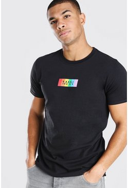 Black Original MAN Rainbow Box Print T-Shirt