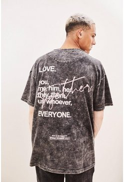 Black Pride Together Graffiti Print Oversized T-Shirt