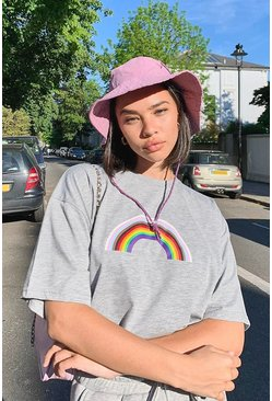 Grey marl Pride Rainbow Print Oversized T-Shirt
