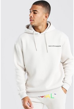 Pride Love is for Everyone Oversized Hoodie, Stone