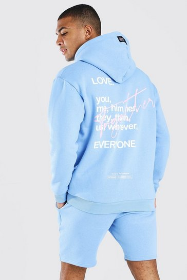 Blue Pride Together Graffiti Print Oversized Hoodie