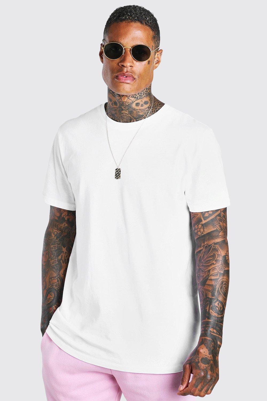 mens short sleeve longline t-shirt with curve hem - white