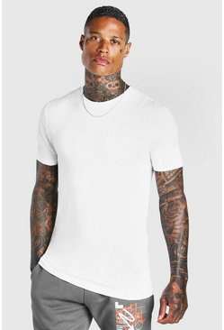 White T-shirt i muscle fit med rund hals