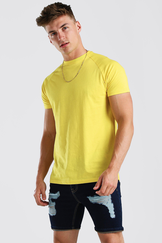mens longline raglan crew neck t-shirt - metallics