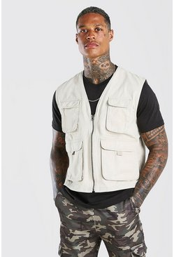 Stone 4 Pocket Cotton Utility Vest