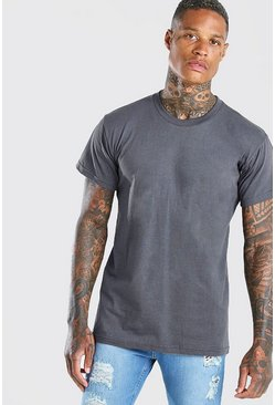 Dark grey Basic t-shirt med rund hals
