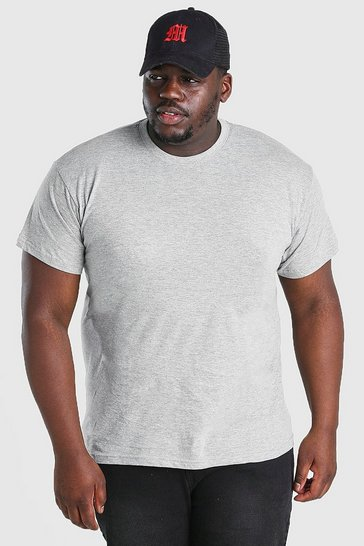 Grey Big And Tall Basic Crew Neck T-Shirt