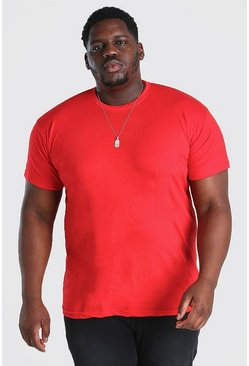 Red Big And Tall Basic Crew Neck T-Shirt