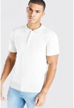 Oatmeal Short Sleeve Knitted Polo