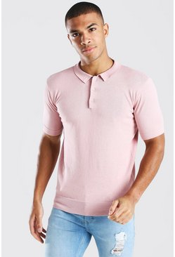 Pale pink Short Sleeve Knitted Polo