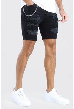 Washed black Skinny Fit Distressed Chained Jean Shorts