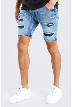 Mid blue Skinny Fit Rip And Repair Bandana Denim Shorts