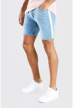 Light blue Skinny Fit Jean Shorts With Side Stripe