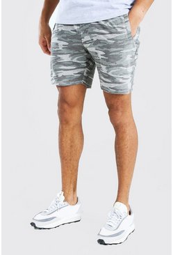 Short en jersey mi-long camouflage, Gris clair
