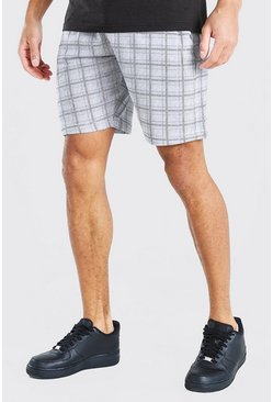 Grey Check Mid Length Jersey Short