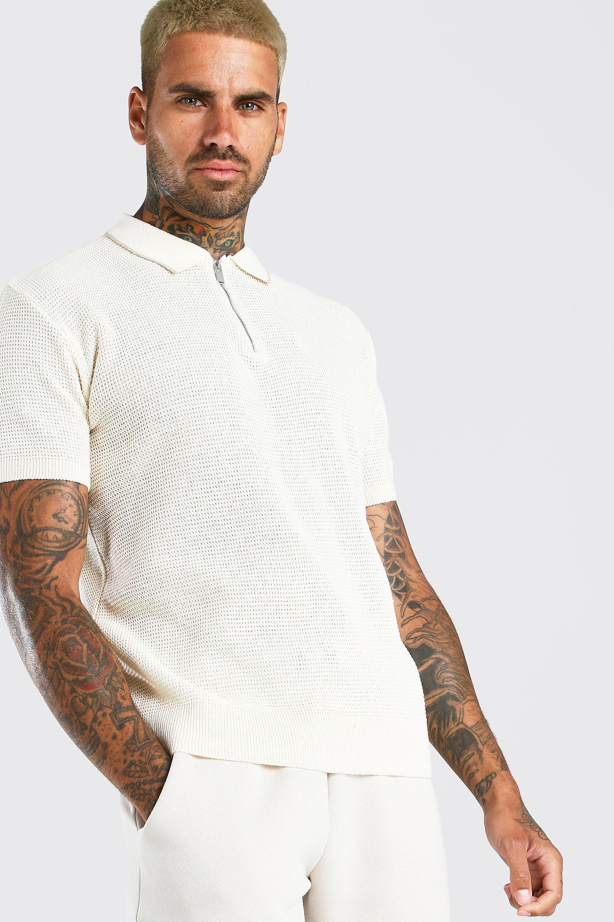 Mens Vintage Shirts – Casual, Dress, T-shirts, Polos Mens Short Sleeve Knitted Half Zip Polo with Tipping - White $14.40 AT vintagedancer.com