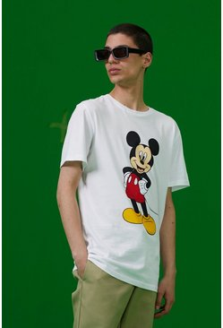 White Disney Mickey Print T-Shirt