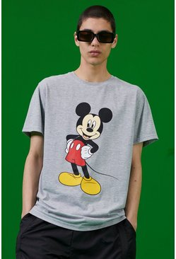 Grey marl Disney Mickey Print T-Shirt