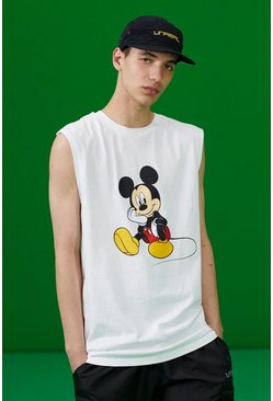 Disney Tank Top mit Mickey-Print, Weiß