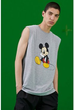 Grey marl Disney Mickey Printed Tank