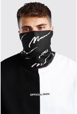 Black MAN Script Print Snood