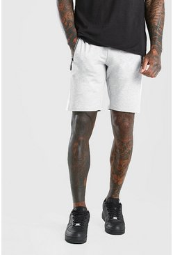 Grey marl Mid Length Jersey Short With Side Panel
