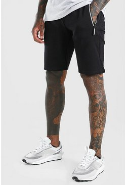 Black Mid Length Jersey Short With Contrast Zip
