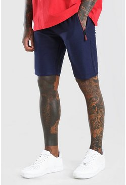 Navy Mid Length Jersey Short With Side Zips