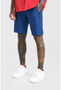 Blue Mid Length Jersey Short With Side Zips
