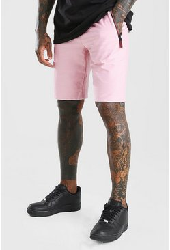 Pale pink Mid Length Jersey Short With Side Zips