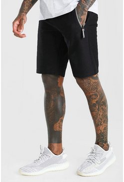 Black Mid Length Jersey Shorts With Side Zips