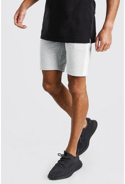 Light grey Mid Length Jersey Short With Side Zips