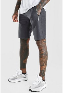 Charcoal Mid Length Jersey Shorts With Side Zips