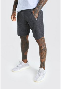 Dark grey Mid Length Pique Short With Zips