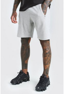 Light grey Mid Length Pique Short With Zips