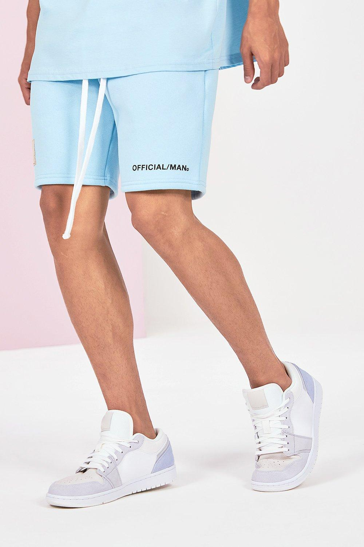 mens mid length official man print jersey short - blue
